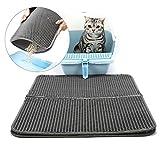 Bainuojia Katzenklo Matte - Große Katzenklomatte : Extra Große Matte mit Streukontrolle für Katzen, die Das Streu aus Dem Klo Tragen Schonend für die Pfoten. (L)