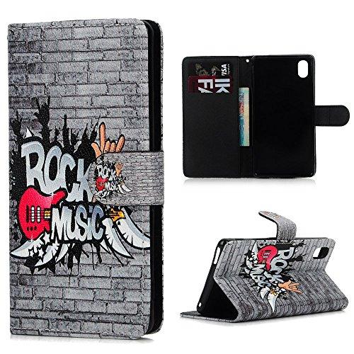 Sony Xperia M4 Aqua Funda Libro de PU Leather Cuero - Mavis's Diary Funda para móvil Carcasa Con Flip case cover,Cierre Magnético,Función de Soporte,Billetera con Tapa para Tarjetas-Diseño de rock music