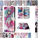 KM-Panda Apple iPhone 6S Plus 6 Plus Leder Tasche Klapphülle Schutzhülle Handytasche Ledertasche Handyhülle Lederhülle Flip Case hülle mit Kartenfächer - Traumfänger Campanula Schmetterling
