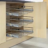 Kukoo - 3 Cestos Extraíbles para Mueble de Cocina de 40cm de Ancho con Guías Telescópicas de Cojinetes de Bolas 42,5cm x 29,7cm x 14cm