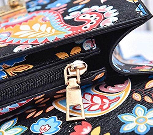 FZHLY Nuova Versione Coreana Del Piccolo Quadrato Messenger Bag Catena Stampata Borsa A Tracolla,Green Green