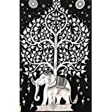 Indian Elephant Tree Tapestry ,Good Luck White Elephant Tapestry , Hippie Gypsy Wall Hanging , Tree Of Life Tapestry , New Age Dorm Tapestry (White/black), Twin Wall Decoration BY GMAC