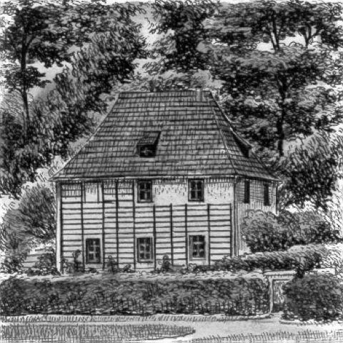 Kunstverlag Christoph Falk Einfarbige original Radierung Weimar, Goethes Gartenhaus von Sommer als...