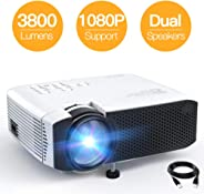Projector APEMAN Mini Portable Video Projector 3500 Lumen LED with Dual Built-in Speakers 45000 Hours Support HD 1080P HDMI/V