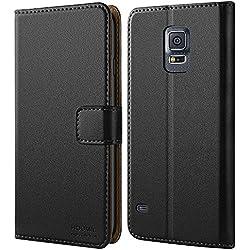 HOOMIL Coque Samsung S5, Housse en Cuir Premium Flip Case Portefeuille Etui Coque pour Samsung Galaxy S5 (H3001, Noir)