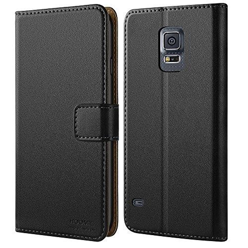 Galaxy S5 Hülle,HOOMIL Premium Handy Schutzhülle für Samsung Galaxy S5 / S5 Neo Hülle Leder Wallet Tasche Flip Brieftasche Etui Schale, Schwarz (H3001) (Smartphone Leder Etui)