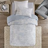 URBAN HABITAT Astoria Easeful Village British Life Shabby Chic Printed Duvet Cover and Pillowcase Set, 100% Breathable Cotton, Trendy Quilt Bedding Set (Single, Blue)