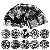 BIGBOBA - 10 Pezzi/Set Adesivo per Unghie,Moda Nero Lace Colore Stickers DIY Design Adesivi Nail Art Decorazioni,4 * 20cm