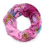 MANUMAR Loop-Schal für Damen | Hals-Tuch in lila mit Blumen Motiv als perfektes Frühling Sommer Accessoire | Schlauchschal | Damen-Schal | Rundschal | Geschenkidee für Frauen