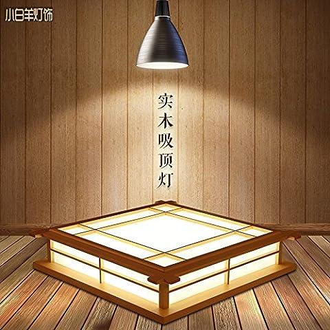 Malovecf Logs du Plafond Japonais Lampe en Bois Salon Chambre Étude Japonaise Tatami Tapis Lampe, 350Mm, 18W, Led, Lumière Chaude