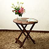 #4: Home Stratosphere Solid Wood Round Folding Table in Mahogany Finish