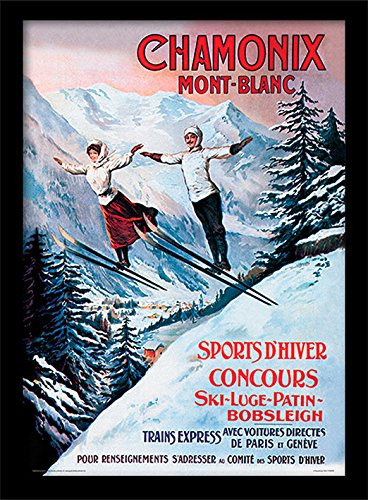 Chamonix Mont-Blanc-'Vintage Werbung' Gerahmter Druck, mehrfarbig, 30x 40cm