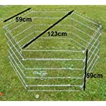 Ellie-Bo Indoor 6 Piece Galvanized Rabbit Enclosure Run with Roof Net and Base 8 Square Feet of Roaming Space 7