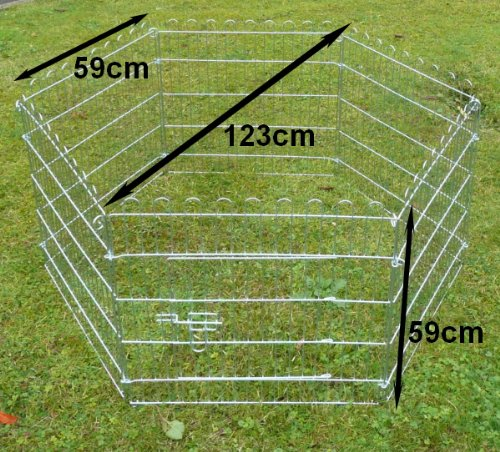 Ellie-Bo Indoor 6 Piece Galvanized Rabbit Enclosure Run with Roof Net and Base 8 Square Feet of Roaming Space 3