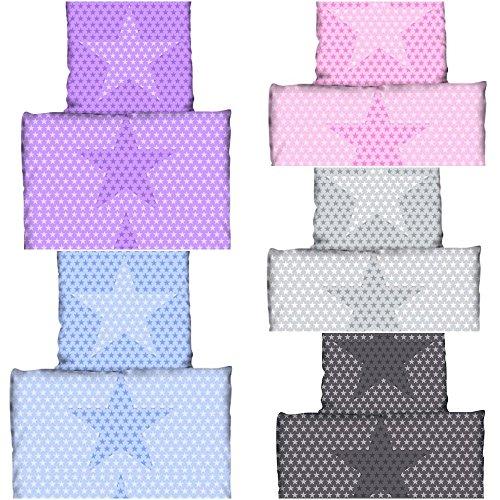 Aminata Kids Kinder-Bettwäsche-Set 135-x-200 cm Sterne Stern-Motiv Star rosa pink Mädchen Damen Jugend-liche-r Mikrofaser für Allergiker