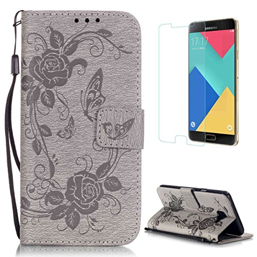 CaseHome for Samsung Galaxy A5 2016/A510F Custodia PU Libro Foglio Flip Magnetico Chiusura Premio Pelle Sintetica Full Body Protettivo Portafoglio Caso Copertina Pelle Conchiglia-Grigio
