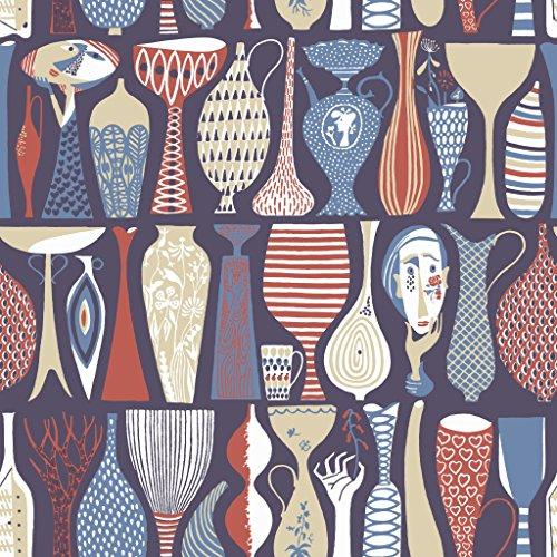 Stig Lindberg 1760 Vliestapete verschiedene Vasen in beige, blau, dunkelrot und weiß auf schwarzblau
