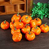 Halloween Kürbisse Deko, 16 Stücke Orange Künstliche Zierkürbisse Herbst Tischdeko für Halloween Haus Dekor - 5