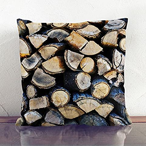 Double-Sided Faux Suede Cushion 17 x 17 Inch (45 x 45 cm) Firewood Logs Square Throw Pillow Cover and Cushion Pad - FREE DELIVERY