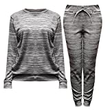 Womens Ladies Fine Knit Long Sleeved Jumper Sweatshirt Jogger Loungewear Tracksuit Set (S/M, Grey Marl)