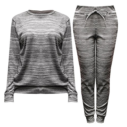 Womens Ladies Fine Knit Long Sleeved Jumper Sweatshirt Jogger Loungewear Tracksuit Set (M/L, Grey Marl)