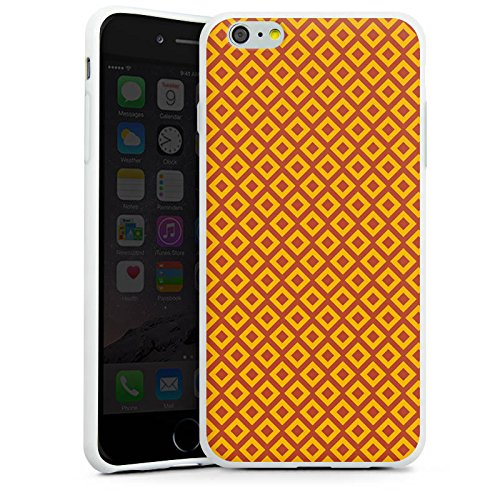 Apple iPhone X Silikon Hülle Case Schutzhülle Rauten Orange Muster Silikon Case weiß