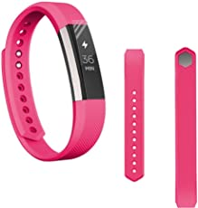 Voberry Replacet Wrist Band Silicone Strap Clasp+Protector Film for Fitbit Alta Hr 38mm Hot Pink