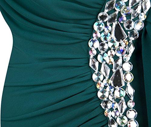 Angel-fashions Damen Eins Schulter Ruschen besetzt Perlstickerei Band Ruckenfrei Lange Kleid Jaspis