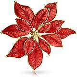 Bling Jewelry Grande Dichiarazione Fiore Festa Festa Bianco Rosso Smalto Poinsettia Spilla Natale Sciarpa Spilla per Le Donne