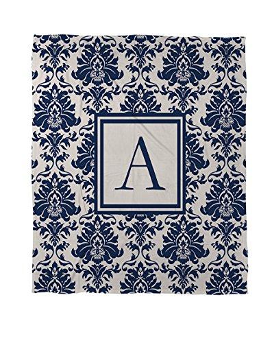 Manuelle holzverarbeiter & Weavers Bettbezug, Queen/Full, Monogramm Buchstabe A, Damast blau