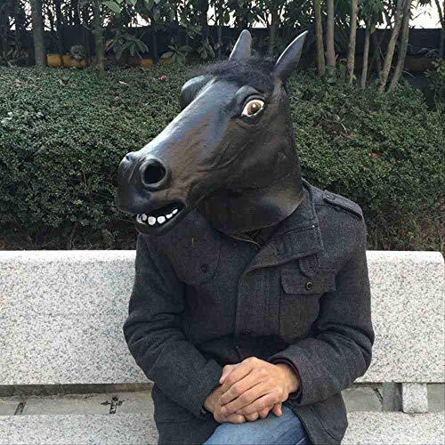 Horse Head Kostüm Black - KLJAI Halloween Maske Latex Black Horse Head Maske Tierkopfbedeckung Pferdemaske Pferdemaske
