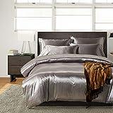HYSENM Parure de lit Satin Lisse Housse de Couette avec Taie d'oreiller Confortable Soyeux Brillant Doux au Toucher, Gris 200