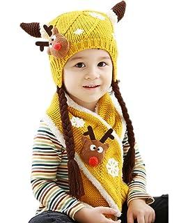6609a648b3b Bigood Bonnet Echarpe Bébé Enfant Chapeau Animaux Cache Oreilles Noël Chic