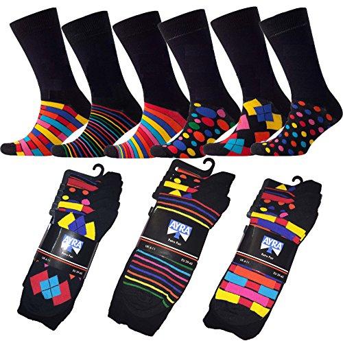 Calcetines para hombre de Ayra, de estilo retro, con patrón de rayas y lunares, para tallas entre la 39 y 45, negros, 6 pares
