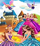 Kayra Decor Barbie and Her Friends 3D Wallpaper Print Decal Deco Indoor Wall Mural for Living Room, Bedroom (Ruby Paper, Multicolour, 8 feet X 6 feet)