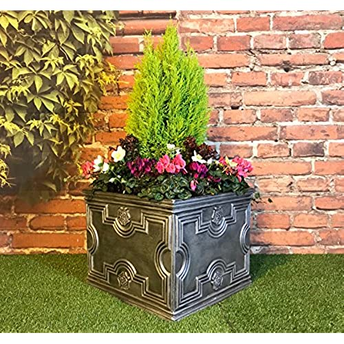 Charming Victorian Garden U0026 Lighting Company Large Square Garden Planter Tudor Style  Pewter/120 Litre Capacity