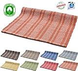 Teppich aus Baumwolle, waschbar, Wellendesign, für Badezimmer / Küche, rutschfest, 50x 80cm. Chenille verschiedene Farben. Maschinenwaschbar 30° 55 x 110 cm Orange