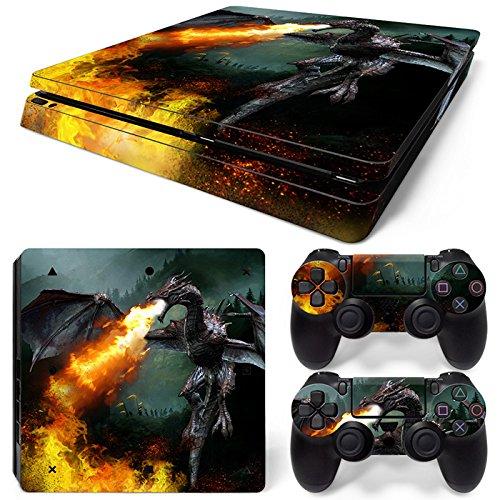 46 North Design Ps4 Slim Playstation 4 Slim Pegatinas De La Consola Dragon Fire + 2 Pegatinas Del Controlador 61 JwyOzpGL