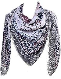Mevina Damen XXL Schal Paisley Retro Vintage Pali Muster mit Fransen groß quadratisch Tuch Halstuch Oversized Premium Qualität