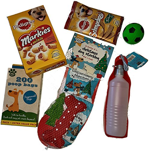 New Festive Dog Treat & Toy Hamper Birthday Christmas Dog Gift Good Boy pedigree