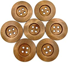 SUPVOX 10pcs 50MM 4 Holes Wooden Buttons Environmental Round Wide Side DIY Press Studs Snaps (Coffee)