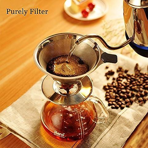 Kaffeefilter Tassenfilter Edelstahl Dauerfilter Permanentfilter Set für kaffeemaschine / Tee / Tee Filter Löffel / Tee-Sieb / Kaffeelöffel Kaffeedauerfilter für 4 Tassen