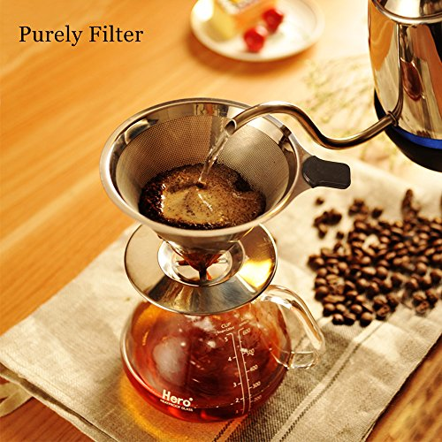 Kaffeefilter Tassenfilter Edelstahl Dauerfilter Permanentfilter Set für kaffeemaschine / Tee / Tee Filter Löffel / Tee-Sieb / Kaffeelöffel Kaffeedauerfilter für 4 Tassen (Kaffeefilter) (Kaffeemaschine-filter-halter)