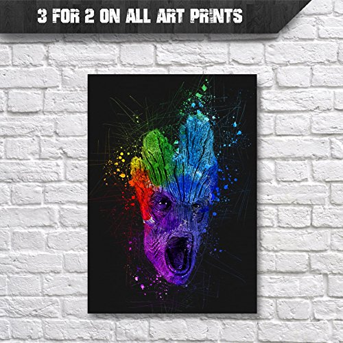 Groot Poster Abstract Watercolour Wall Art Print - A4 - Guardians of the Galaxy - High Quality Artwork - Buy 3 for the price of 2 on all art prints
