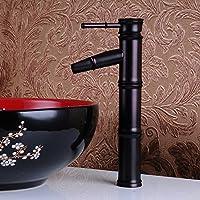 Dahuuyus stile moderno, elegante e pratico home faucetsNew per bagno e cucina, colore: nero, in bambù, con rubinetto miscelatore per lavello cromato, dipinta a mano con acqua calda e fredda