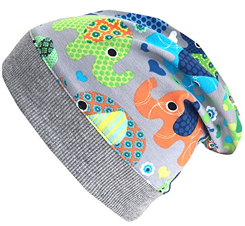 Wollhuhn - Sombrero - Estrellas - para bebé niño ELEFANTEN Grau/Bunt Extra-Small