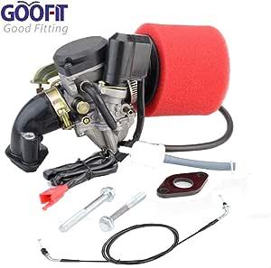 Goofit Pd18j 18mm Vergaser Luftfilter Ansaugstutzen Gaszug Montage Kit Für 50cc Scooter Go Karts Moped Auto