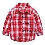 QTONGZHUANG Amazon Kinder Frühling und Sommer Strickjacke hübsches langärmliges Kariertes Hemd in Einem Kleinen Herrenhemd, Rot, 4T (110cm)