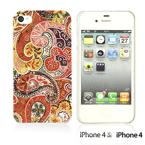OBiDi - Flower Pattern Hardback Case / Housse pour Apple iPhone 4S / Apple iPhone 4 - Colorful Flowers With Birds Floral Paisley