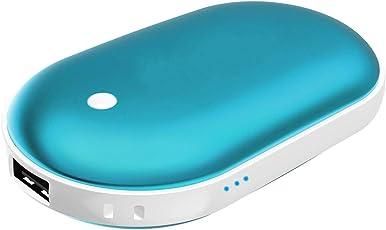 SukerDirect Aufladbare Handwärmer, 5200mAh Energien Bank Telefon Ladegerät für iPhone Samsung, Wiederverwendbare Elektrische Handwärmer Doppelseitentaschen Handwärmer, Geschenk für Kalten Winter